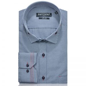 Men dress shirt blue checks 3936-01 a