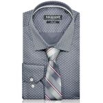 Men dress shirt gray white dots 3981-05 b