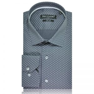 Men dress shirt gray white dots 3981-05a