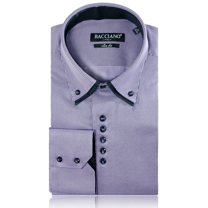 Bacciano da vinci shirt and tieshirt and tie for Purple striped dress shirt