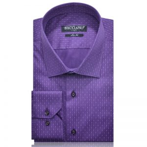 Men dress shirt purple white dots 3922-01 a