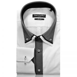 Men dress shirt white black stripe middle 1111-01 a
