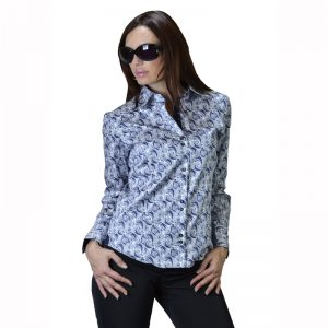 Womens Dress Shirt Blue Flowers 283-04 a